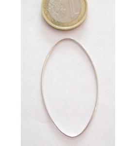 Base orecchino connettore ovale liscio 48x28 mm  argento 925 rodiato