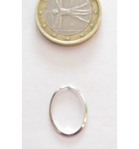 Basi orecchini connettori ovali lisci trilato 17x13 mm  argento 925 rodiato 2 pz.