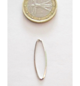 Basi orecchini connettori ovali lisci trilato 26x8 mm  argento 925 rodiato 2 pz.