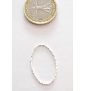 Basi orecchini connettori ovali martellati 28x16 mm  argento 925  rodiato 2 pz.
