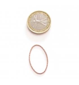 Basi orecchini connettori ovali martellati 28x16 mm  argento 925 placcati oro rosa 2 pz.