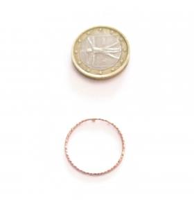 Basi orecchini connettori tondi martellati 20 mm  argento 925 placcati oro rosa 2 pz.