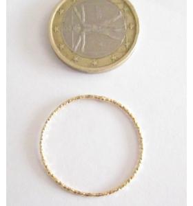 Basi orecchini connettori tondi martellati 25 mm  argento 925 placcati oro giallo 2 pz.