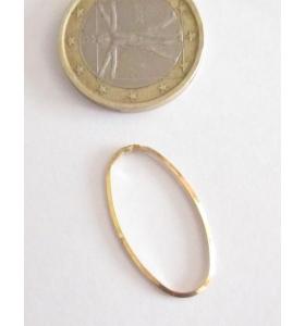 Basi orecchini connettori ovali lisci trilato 26x8 mm  argento 925 rodiati 2 pz.