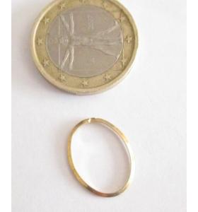 Basi orecchini connettori ovali lisci trilato 17x13 mm  argento 925 placcati oro giallo 2 pz.