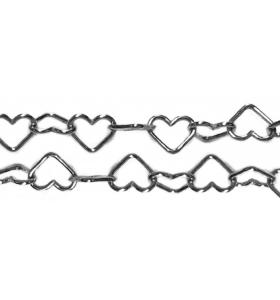 catena cuore 4x3 mm argento 925 rodiato nero -10 cm