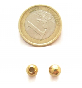 1 pallina in argento 925 placcato oro giallo sfaccettato 6 mm  made in it  foro 2 mm