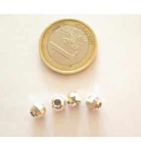 1 pallina in argento 925 rodiato sfaccettato 6 mm  made in it  foro 2 mm