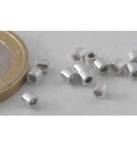 6 TUBINI MICRO IN ARGENTO925 ITALY 3X2 MM FORO 1,2MM