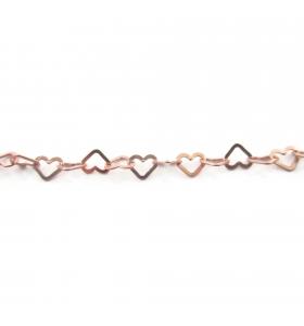 catena cuore piatto 5,5x5 mm argento 925  placcato oro rosa -10 cm