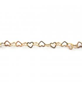 catena cuore piatto 5,5x5 mm argento 925 placcato oro giallo -10 cm