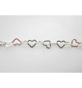 catena cuore piatto 5,5x5 mm argento 925   -10 cm