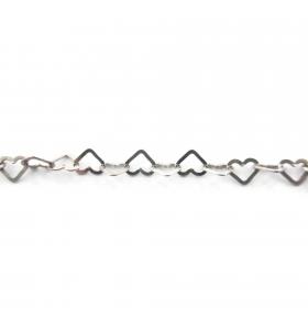 catena cuore piatto 5,5x5 mm argento 925  rodiato -10 cm