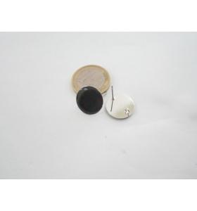 1 paio di basi orecchino smaltato nero in alluminio rodiato