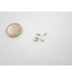 4 ovali chicco di riso in argento 935 liscio 7x3 mm.