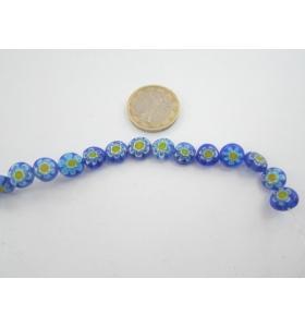 4 murrine colorate nei toni del blu con fiore giallo  tondi  9 mm.