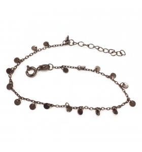bracciale charms argento 925 rodiato nero lungo da 16,5 a 19,5 cm