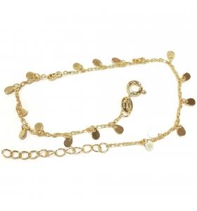 bracciale charms argento 925 placcato oro giallo lungo da 16,5 a 19,5 cm