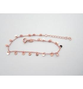 bracciale charms argento 925 placcato oro rosa lungo da 16,5 a 19,5 cm