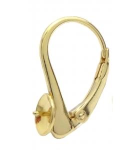 Monachella chiusa con coppetta da incollo argento 925 placcato oro giallo di 19x12 mm 1 coppia