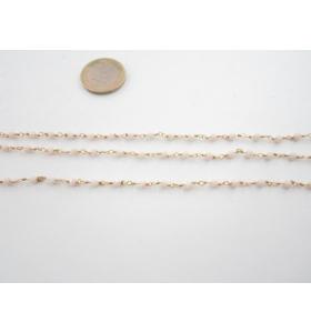 50 cm. di catena rosario tono dorato e cristalli color avorio 3,5 mm.