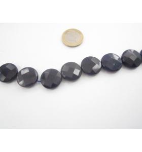 un filo di radice di zaffiro blu scuro sfaccettato tondo piatto diametro 20 mm.