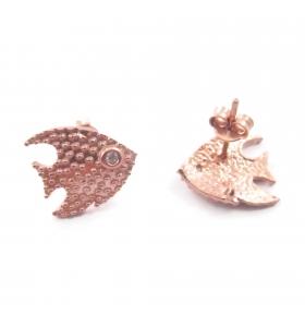 Orecchini perno pesce con zircone argento 925 placcato oro rosa 14,5x13 mm 1 coppia
