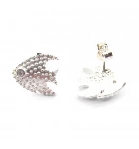 Orecchini perno pesce con zircone argento 925 14,5x13 mm 1 coppia