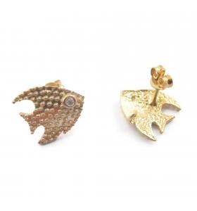 Orecchini perno pesce con zircone argento 925 placcato oro giallo 14,5x13 mm 1 coppia