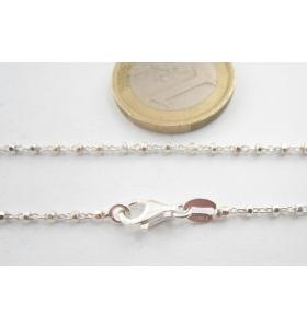 1 catenina lunga 40 cm in argento 925 diamantato pallini sfaccettati alternati