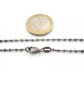 1 catenina  lunga 40 cm in argento 925 diamantato rodiato nero  pallini sfaccettati alternati