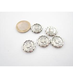 5 componenti in argentone ( argento tibetano ) tondo 18 mm. buona fortuna