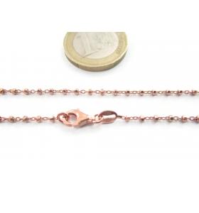 1 catenina  lunga 45 cm in argento 925 diamantato placcato oro rosa pallini sfaccettati alternati