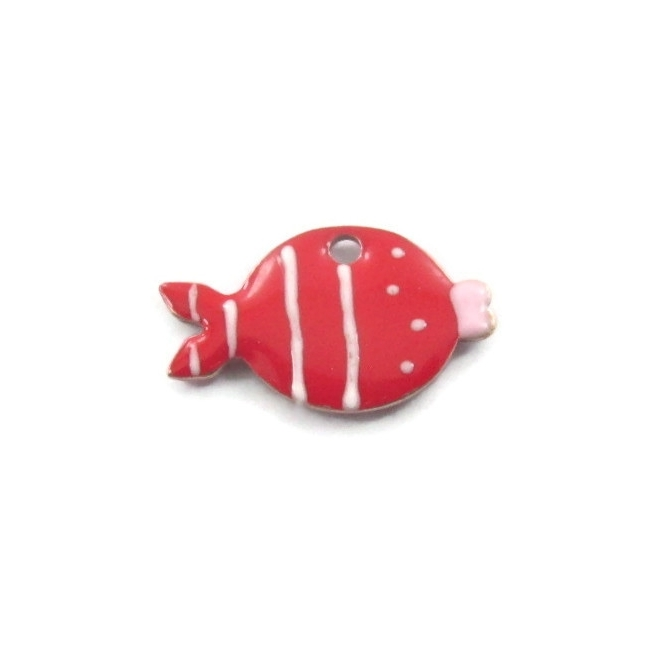 1 Ciondolo charms pesce smaltato rosso argento 925 di 14,5x8,5 mm