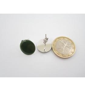 1 paio di basi orecchino smaltato verde in alluminio argentato