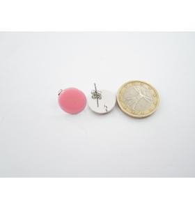 1 paio di basi orecchino smaltato rosa in alluminio argentato