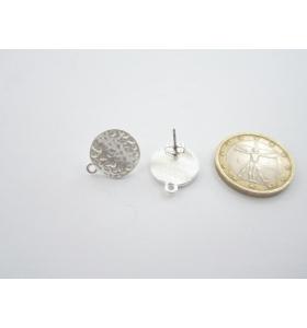 2 basi per orecchini in zama argentata martellata cerchio leggermente ondulato 15x18mm