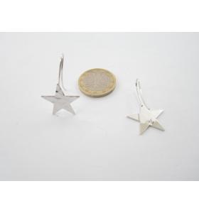 2 basi x orecchini  in ottone argentato lucido stella martellata 30x20