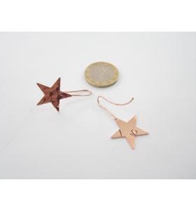 2 basi x orecchini  in ottone ramato lucido stella martellata 30x20