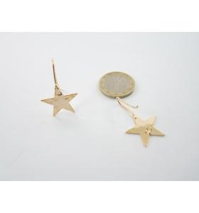 2 basi x orecchini  in ottone dorato lucido stella martellata 30x20