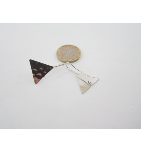 2 basi x orecchini  in ottone rodiato lucido triangolo martellato 30x20