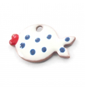 1 Ciondolo charms pesce smaltato bianco pallini bluargento 925 rodiato  di 14,5x8,5 mm