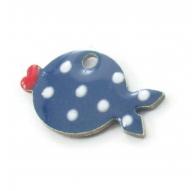 1 Ciondolo charms pesce smaltato blu pallini bianchi argento 925 rodiato di 14,5x8,5 mm