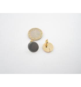 1 paio di basi orecchino smaltato grigio in alluminio dorato