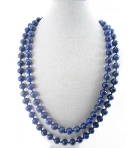 collana lapislazzuli lunga annodata in stile vintage lunga 62 cm senza chiusura