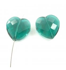 2 cuori in cristallo verde...