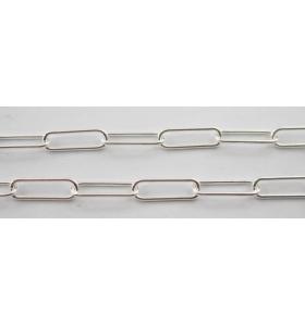 10 cm di catena graffetta filo 0,7 mm  argento 925 misure 11x3,5 mm