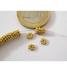 20 rosette in argentone dorato del diametro di 5 x 1,4 mm di spessore
