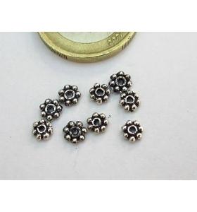 25 rosette in argentone tibetano da 4x1 mm