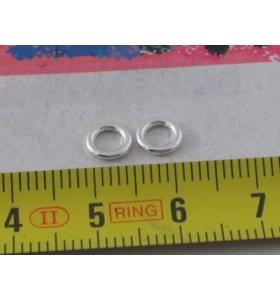 30 anellini aperti metallo anallergico argentati da 8 mm